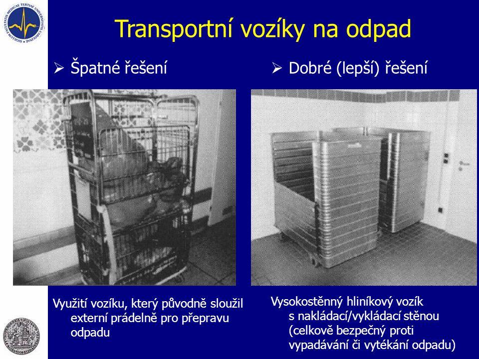 Transportní vozíky na odpad  Špatné řešení Využití vozíku, který původně sloužil externí prádelně pro přepravu odpadu  Dobré (lepší) řešení Vysokostěnný hliníkový vozík s nakládací/vykládací stěnou (celkově bezpečný proti vypadávání či vytékání odpadu)