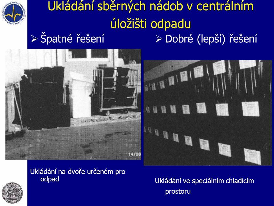 Ukládání sběrných nádob v centrálním úložišti odpadu  Špatné řešení Ukládání na dvoře určeném pro odpad  Dobré (lepší) řešení Ukládání ve speciálním chladicím prostoru