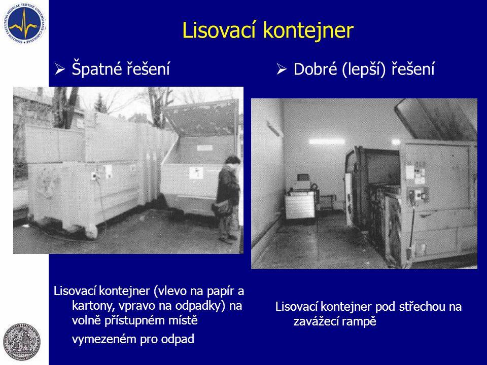 Lisovací kontejner  Špatné řešení Lisovací kontejner (vlevo na papír a kartony, vpravo na odpadky) na volně přístupném místě vymezeném pro odpad  Dobré (lepší) řešení Lisovací kontejner pod střechou na zavážecí rampě