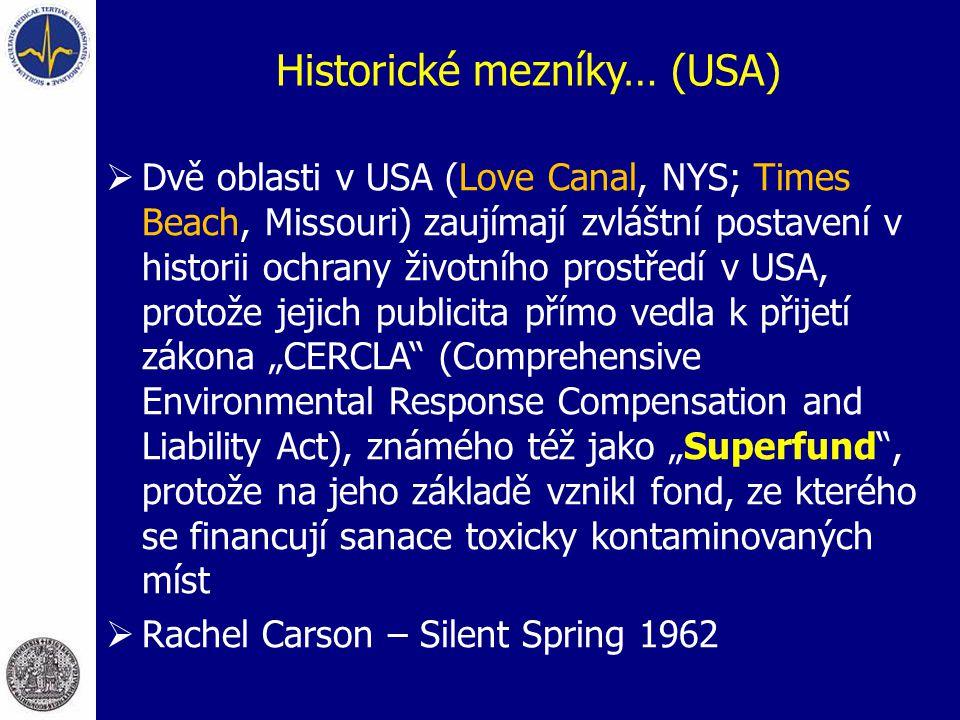 """Historické mezníky… (USA)  Dvě oblasti v USA (Love Canal, NYS; Times Beach, Missouri) zaujímají zvláštní postavení v historii ochrany životního prostředí v USA, protože jejich publicita přímo vedla k přijetí zákona """"CERCLA (Comprehensive Environmental Response Compensation and Liability Act), známého též jako """"Superfund , protože na jeho základě vznikl fond, ze kterého se financují sanace toxicky kontaminovaných míst  Rachel Carson – Silent Spring 1962"""