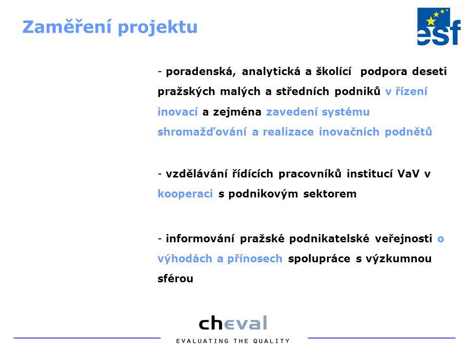 - poradenská, analytická a školící podpora deseti pražských malých a středních podniků v řízení inovací a zejména zavedení systému shromažďování a realizace inovačních podnětů - vzdělávání řídících pracovníků institucí VaV v kooperaci s podnikovým sektorem - informování pražské podnikatelské veřejnosti o výhodách a přínosech spolupráce s výzkumnou sférou Zaměření projektu