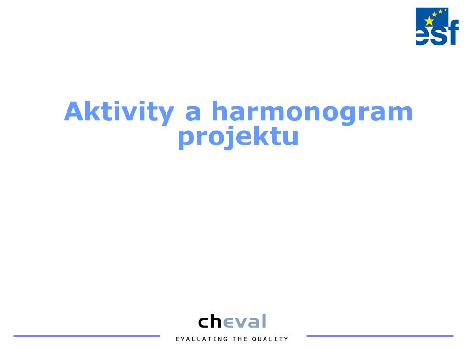 Aktivity a harmonogram projektu