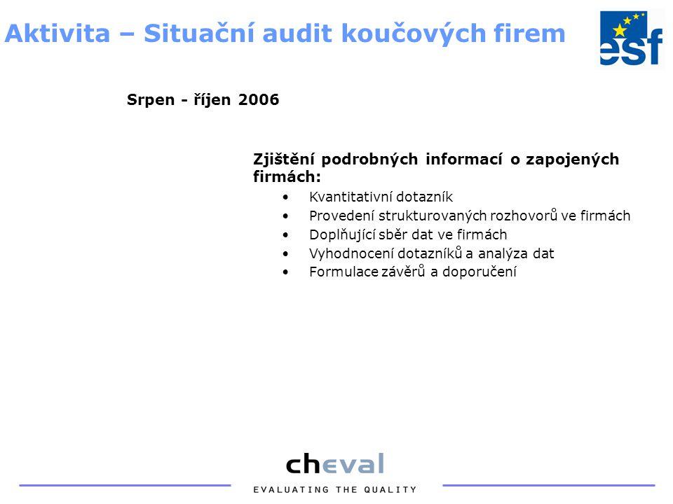 Zjištění podrobných informací o zapojených firmách: Kvantitativní dotazník Provedení strukturovaných rozhovorů ve firmách Doplňující sběr dat ve firmách Vyhodnocení dotazníků a analýza dat Formulace závěrů a doporučení Aktivita – Situační audit koučových firem Srpen - říjen 2006