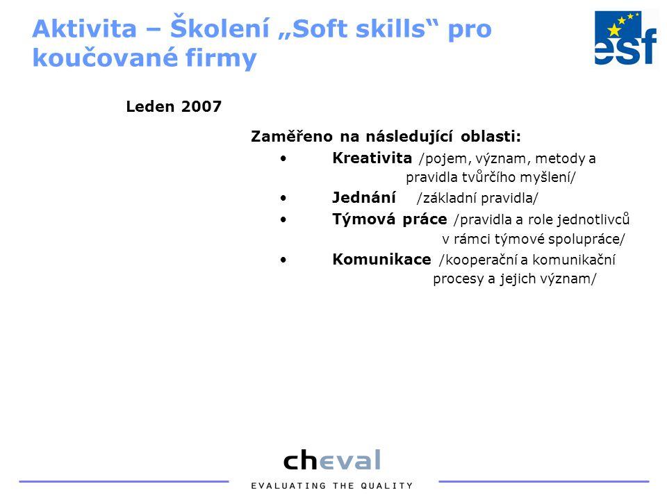 """Zaměřeno na následující oblasti: Kreativita /pojem, význam, metody a pravidla tvůrčího myšlení/ Jednání /základní pravidla/ Týmová práce /pravidla a role jednotlivců v rámci týmové spolupráce/ Komunikace /kooperační a komunikační procesy a jejich význam/ Aktivita – Školení """"Soft skills pro koučované firmy Leden 2007"""