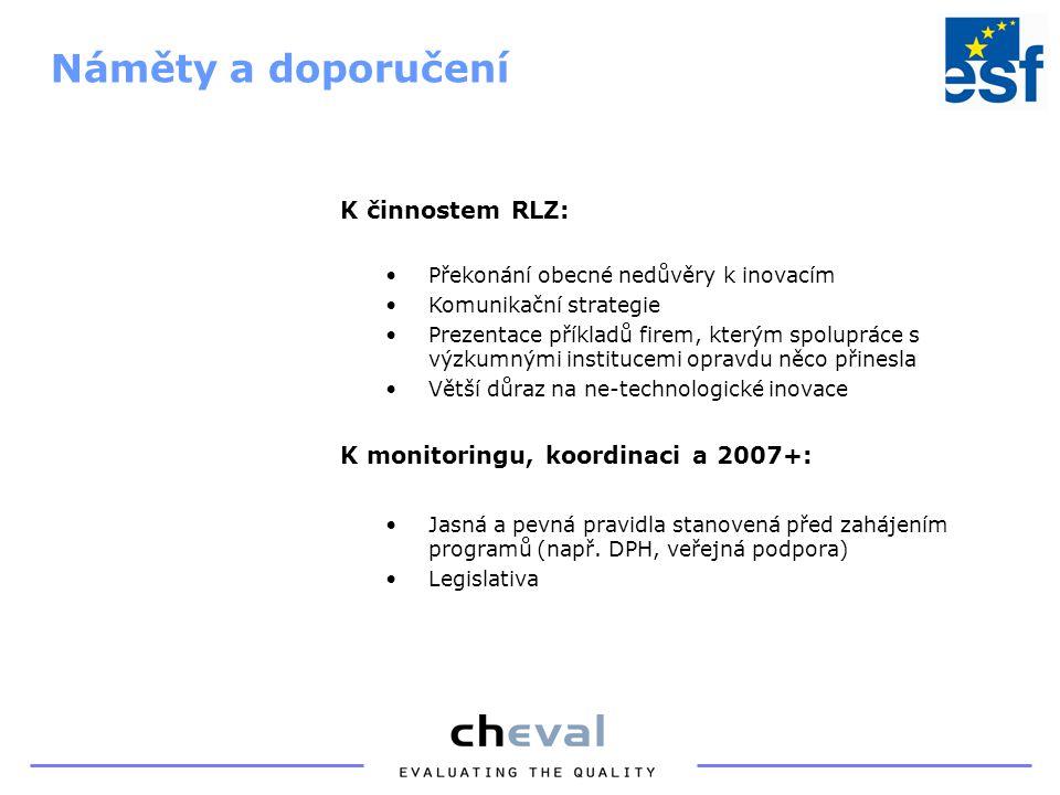 K činnostem RLZ: Překonání obecné nedůvěry k inovacím Komunikační strategie Prezentace příkladů firem, kterým spolupráce s výzkumnými institucemi opravdu něco přinesla Větší důraz na ne-technologické inovace K monitoringu, koordinaci a 2007+: Jasná a pevná pravidla stanovená před zahájením programů (např.