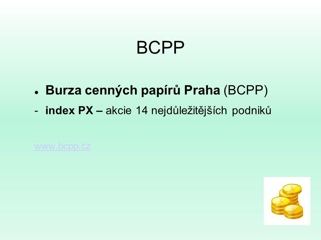 BCPP Burza cenných papírů Praha (BCPP) -index PX – akcie 14 nejdůležitějších podniků www.bcpp.cz