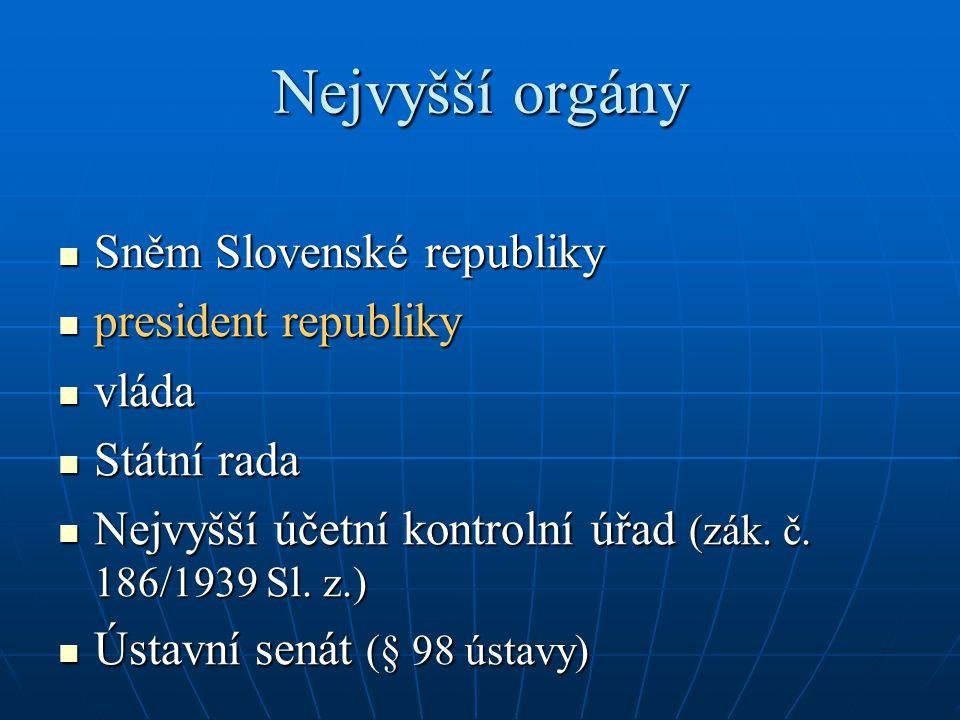 Nejvyšší orgány Sněm Slovenské republiky Sněm Slovenské republiky president republiky president republiky vláda vláda Státní rada Státní rada Nejvyšší
