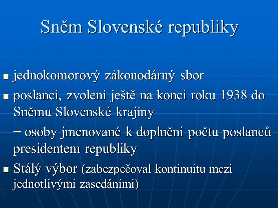 Sněm Slovenské republiky jednokomorový zákonodárný sbor jednokomorový zákonodárný sbor poslanci, zvolení ještě na konci roku 1938 do Sněmu Slovenské k