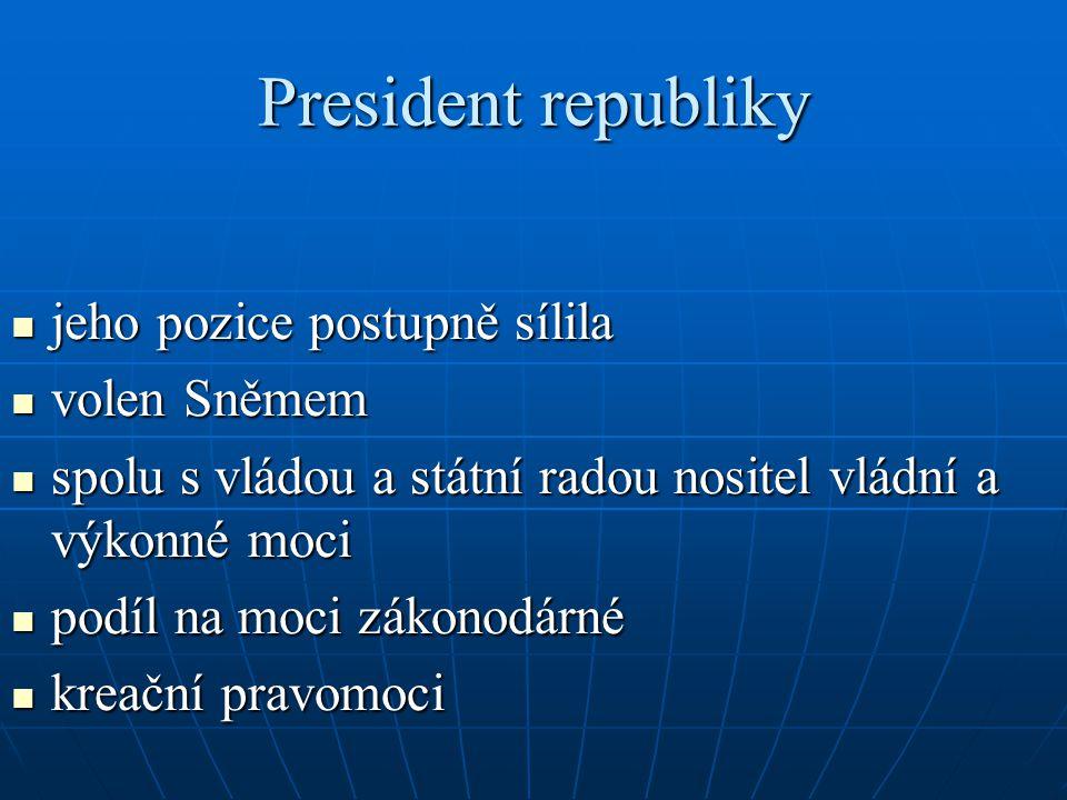 President republiky jeho pozice postupně sílila jeho pozice postupně sílila volen Sněmem volen Sněmem spolu s vládou a státní radou nositel vládní a v
