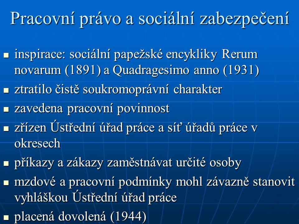 Pracovní právo a sociální zabezpečení inspirace: sociální papežské encykliky Rerum novarum (1891) a Quadragesimo anno (1931) inspirace: sociální papež