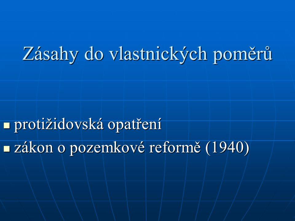Zásahy do vlastnických poměrů protižidovská opatření protižidovská opatření zákon o pozemkové reformě (1940) zákon o pozemkové reformě (1940)