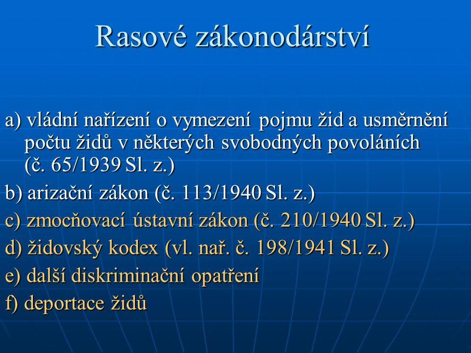 Rasové zákonodárství a) vládní nařízení o vymezení pojmu žid a usměrnění počtu židů v některých svobodných povoláních (č. 65/1939 Sl. z.) b) arizační