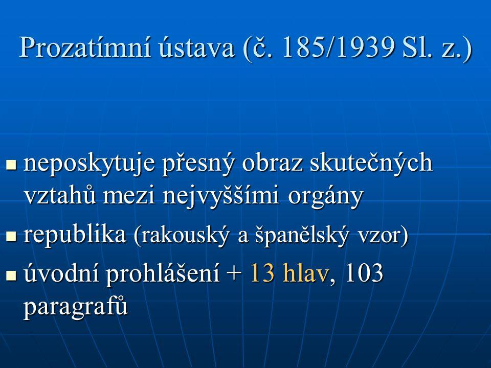Prozatímní ústava – hlavy 1.– 13. 1. Všeobecná ustanovení 2.