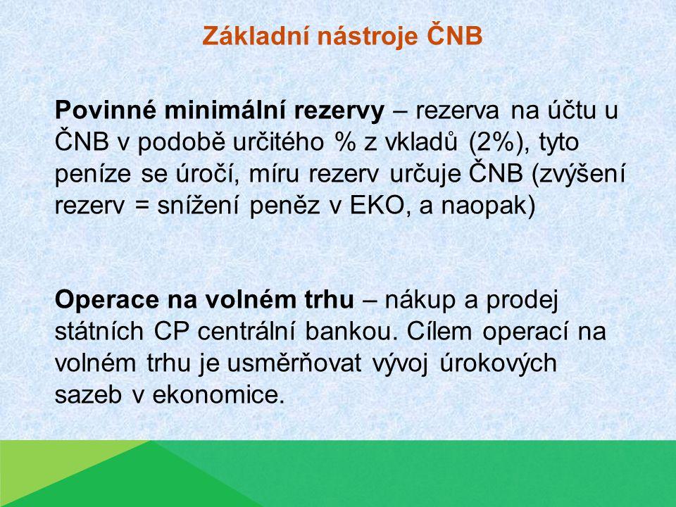 Povinné minimální rezervy – rezerva na účtu u ČNB v podobě určitého % z vkladů (2%), tyto peníze se úročí, míru rezerv určuje ČNB (zvýšení rezerv = snížení peněz v EKO, a naopak) Operace na volném trhu – nákup a prodej státních CP centrální bankou.