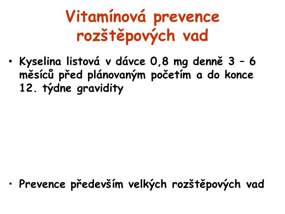 Vitamínová prevence rozštěpových vad Kyselina listová v dávce 0,8 mg denně 3 – 6 měsíců před plánovaným početím a do konce 12. týdne gravidity Prevenc