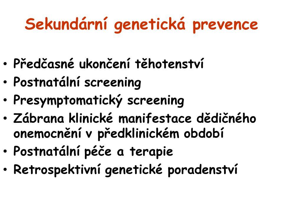 Sekundární genetická prevence Předčasné ukončení těhotenství Postnatální screening Presymptomatický screening Zábrana klinické manifestace dědičného o