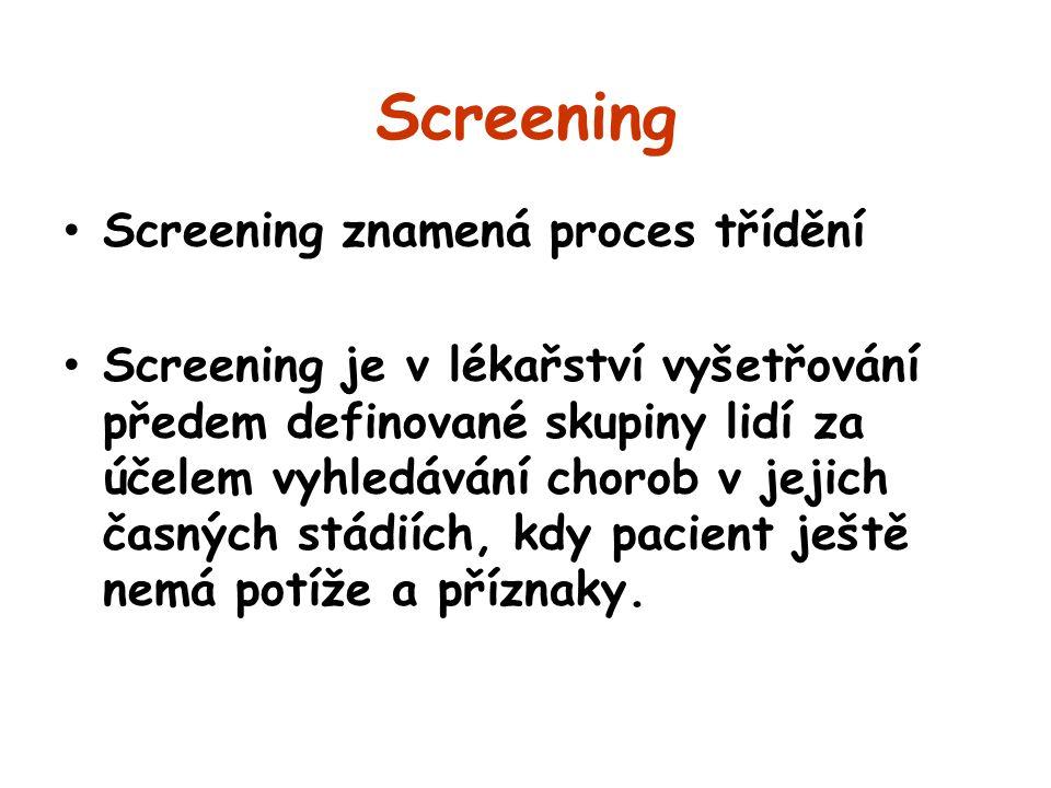 Screening Screening znamená proces třídění Screening je v lékařství vyšetřování předem definované skupiny lidí za účelem vyhledávání chorob v jejich č