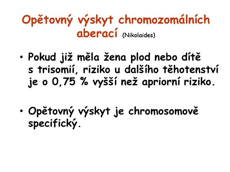 Opětovný výskyt chromozomálních aberací (Nikolaides) Pokud již měla žena plod nebo dítě s trisomií, riziko u dalšího těhotenství je o 0,75 % vyšší než