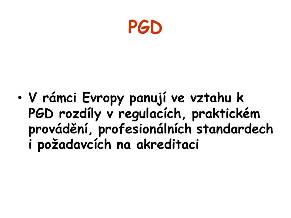 PGD V rámci Evropy panují ve vztahu k PGD rozdíly v regulacích, praktickém provádění, profesionálních standardech i požadavcích na akreditaci