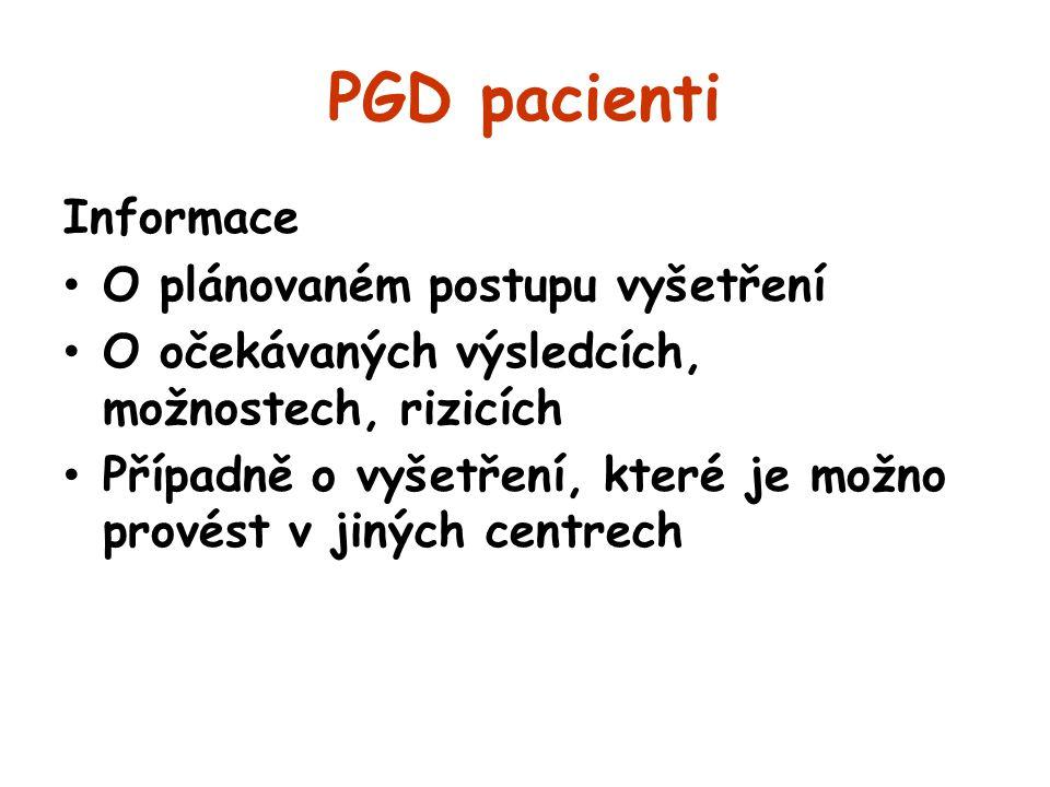 PGD pacienti Informace O plánovaném postupu vyšetření O očekávaných výsledcích, možnostech, rizicích Případně o vyšetření, které je možno provést v ji