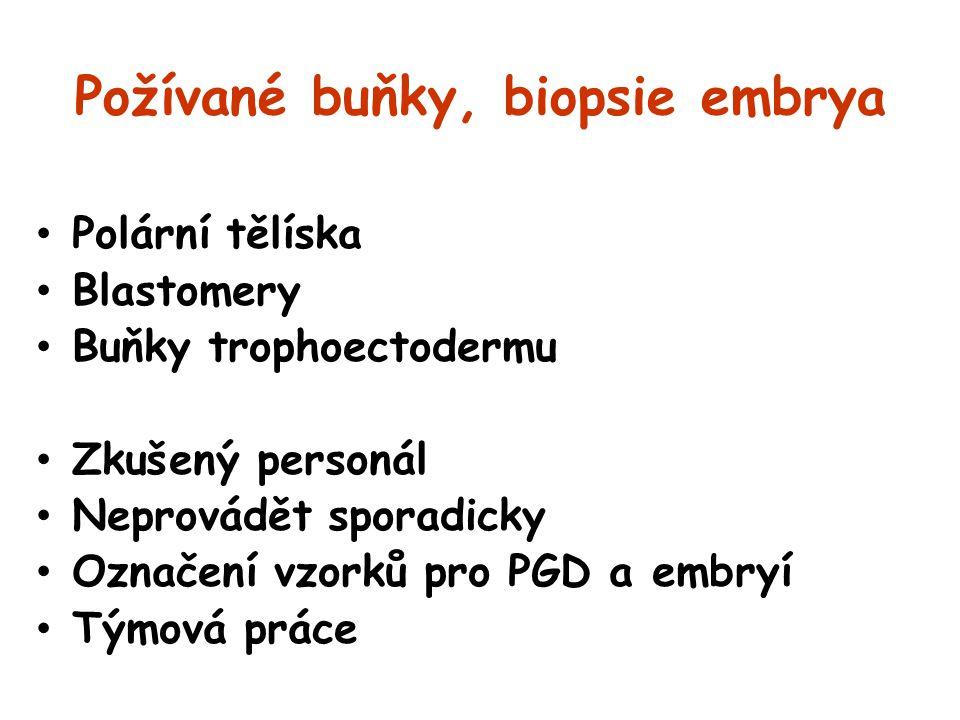 Požívané buňky, biopsie embrya Polární tělíska Blastomery Buňky trophoectodermu Zkušený personál Neprovádět sporadicky Označení vzorků pro PGD a embry