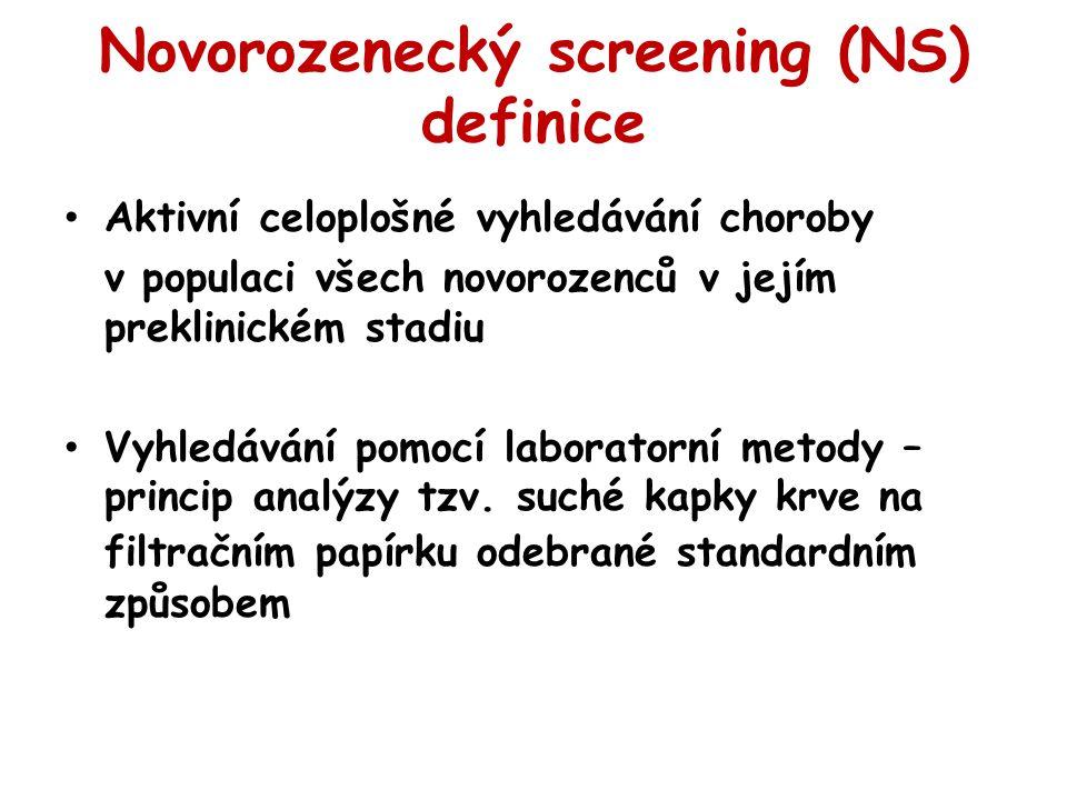 Novorozenecký screening (NS) definice Aktivní celoplošné vyhledávání choroby v populaci všech novorozenců v jejím preklinickém stadiu Vyhledávání pomo