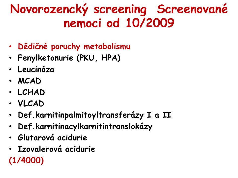 Novorozencký screening Screenované nemoci od 10/2009 Dědičné poruchy metabolismu Fenylketonurie (PKU, HPA) Leucinóza MCAD LCHAD VLCAD Def.karnitinpalm