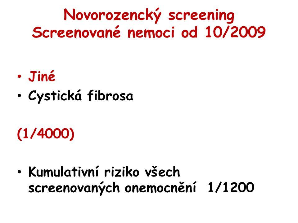 Novorozencký screening Screenované nemoci od 10/2009 Jiné Cystická fibrosa (1/4000) Kumulativní riziko všech screenovaných onemocnění 1/1200