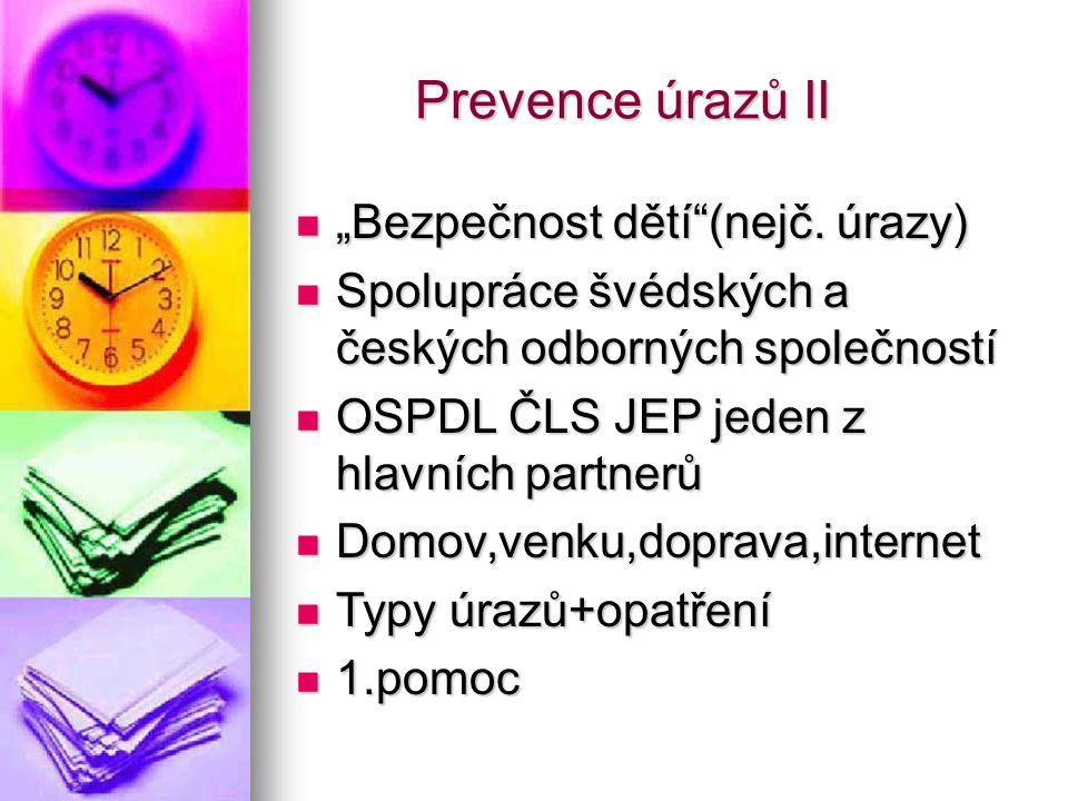 """Prevence úrazů II Prevence úrazů II """"Bezpečnost dětí""""(nejč. úrazy) """"Bezpečnost dětí""""(nejč. úrazy) Spolupráce švédských a českých odborných společností"""