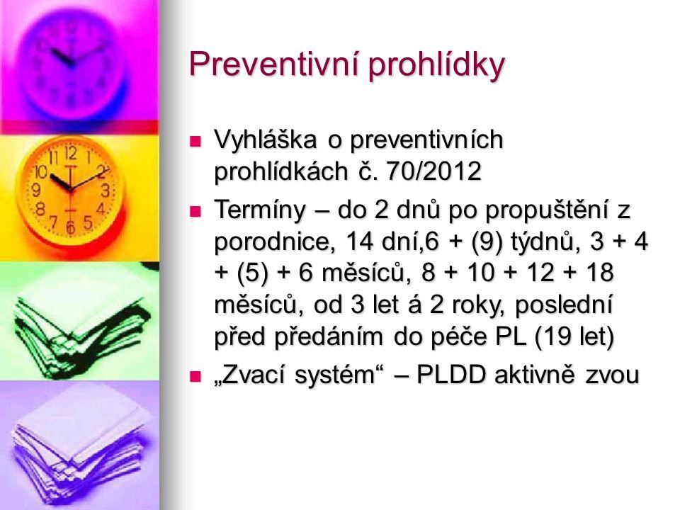 Náplň preventivních prohlídek Anamnéza Anamnéza Fyzikální vyšetření, zrak, barvocit, sluch, tlak, moč Fyzikální vyšetření, zrak, barvocit, sluch, tlak, moč Psychomotorický vývoj, řeč, sociální chování Psychomotorický vývoj, řeč, sociální chování Výživa, režim dítěte, prevence podle specifik pro daný věk Výživa, režim dítěte, prevence podle specifik pro daný věk Pohovor s rodiči Pohovor s rodiči