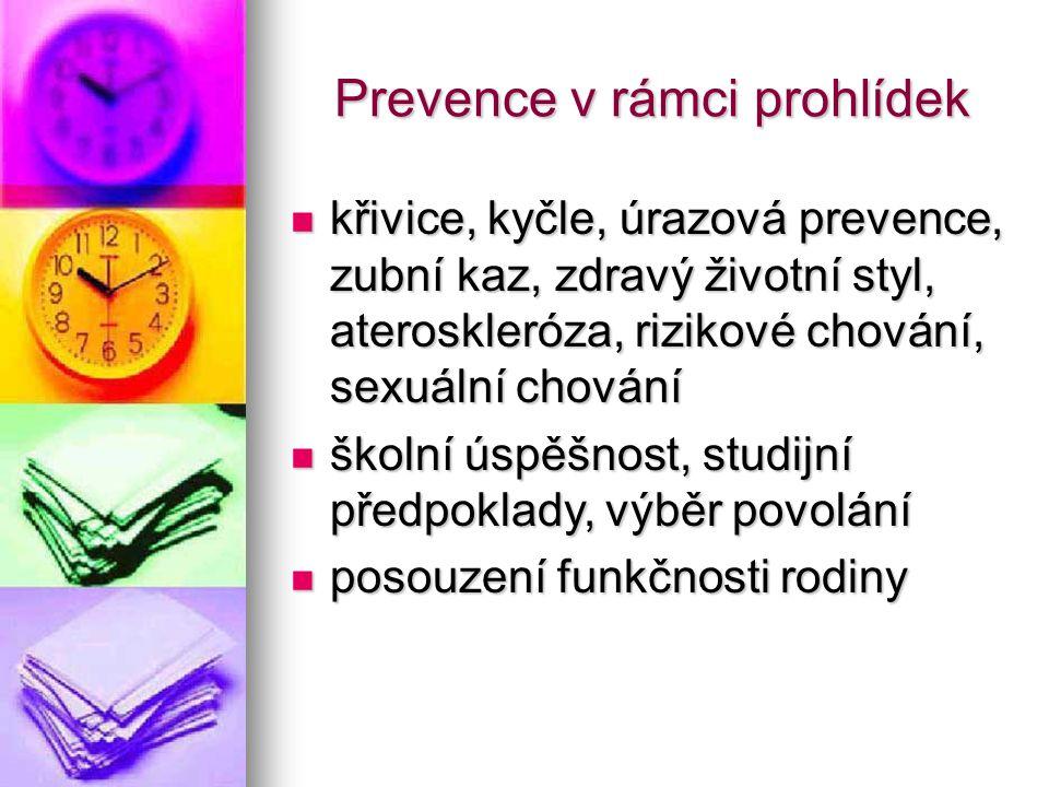 Prevence v rámci prohlídek Prevence v rámci prohlídek křivice, kyčle, úrazová prevence, zubní kaz, zdravý životní styl, ateroskleróza, rizikové chován