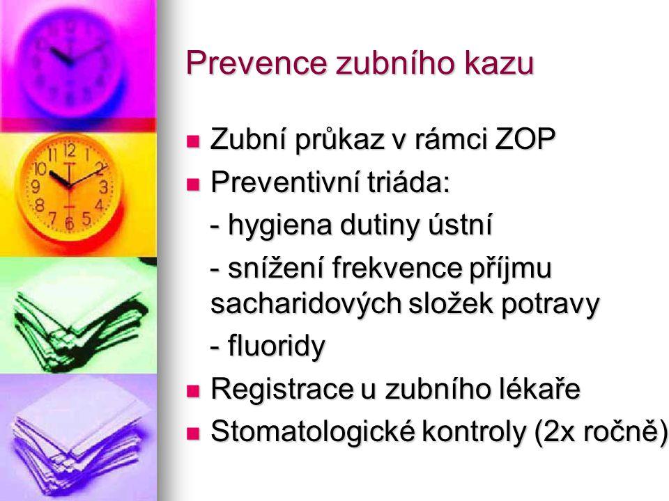 Prevence zubního kazu Zubní průkaz v rámci ZOP Zubní průkaz v rámci ZOP Preventivní triáda: Preventivní triáda: - hygiena dutiny ústní - hygiena dutiny ústní - snížení frekvence příjmu sacharidových složek potravy - snížení frekvence příjmu sacharidových složek potravy - fluoridy - fluoridy Registrace u zubního lékaře Registrace u zubního lékaře Stomatologické kontroly (2x ročně) Stomatologické kontroly (2x ročně)