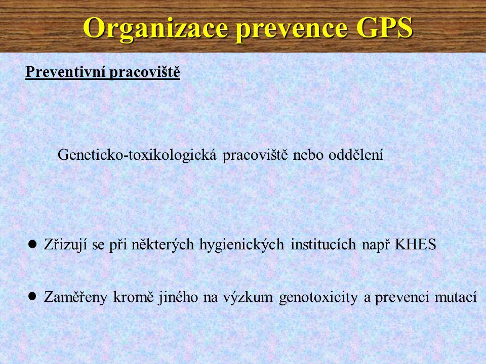 Preventivní pracoviště Geneticko-toxikologická pracoviště nebo oddělení Zřizují se při některých hygienických institucích např KHES Zaměřeny kromě jiného na výzkum genotoxicity a prevenci mutací Organizace prevence GPS