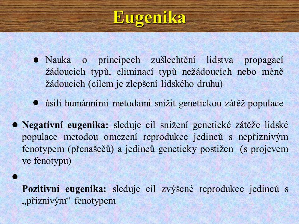 """Eugenika Nauka o principech zušlechtění lidstva propagací žádoucích typů, eliminací typů nežádoucích nebo méně žádoucích (cílem je zlepšení lidského druhu) úsilí humánními metodami snížit genetickou zátěž populace Negativní eugenika: sleduje cíl snížení genetické zátěže lidské populace metodou omezení reprodukce jedinců s nepříznivým fenotypem (přenašečů) a jedinců geneticky postižen (s projevem ve fenotypu) Pozitivní eugenika: sleduje cíl zvýšené reprodukce jedinců s """"příznivým fenotypem"""