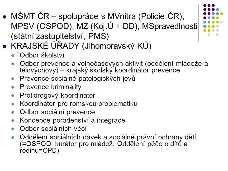 MŠMT ČR – spolupráce s MVnitra (Policie ČR), MPSV (OSPOD), MZ (Koj.Ú + DD), MSpravedlnosti (státní zastupitelství, PMS) KRAJSKÉ ÚŘADY (Jihomoravský KÚ