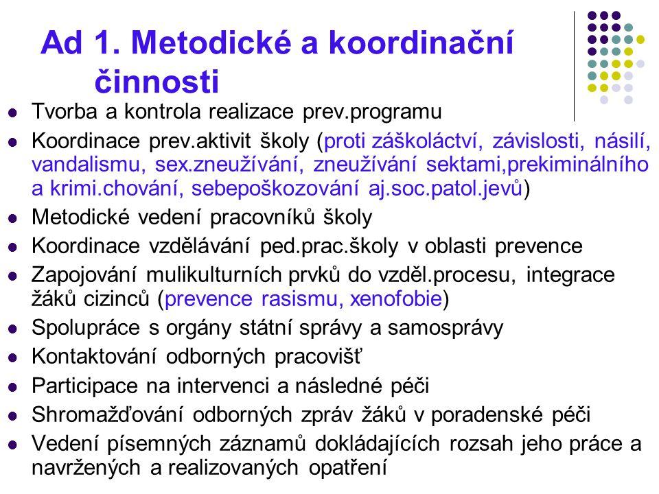 Ad 1. Metodické a koordinační činnosti Tvorba a kontrola realizace prev.programu Koordinace prev.aktivit školy (proti záškoláctví, závislosti, násilí,