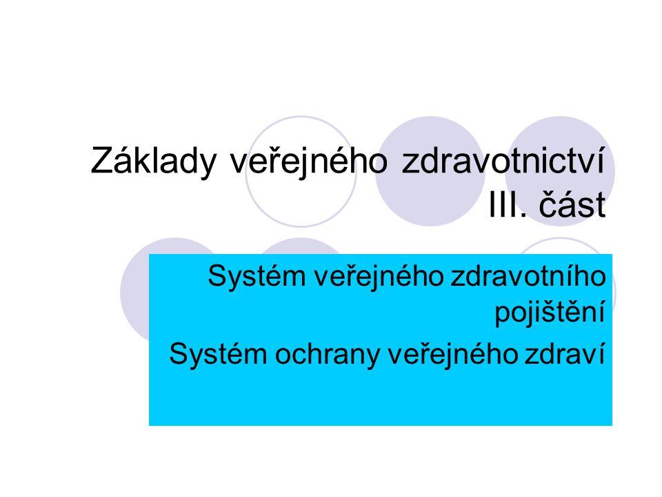 Základy veřejného zdravotnictví III. část Systém veřejného zdravotního pojištění Systém ochrany veřejného zdraví