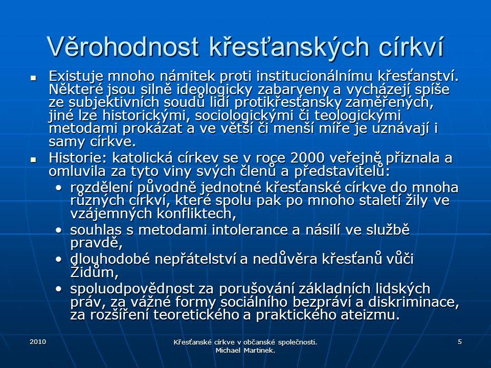2010 Křesťanské církve v občanské společnosti. Michael Martinek. 6 Církevní příslušnost obyvatel ČR