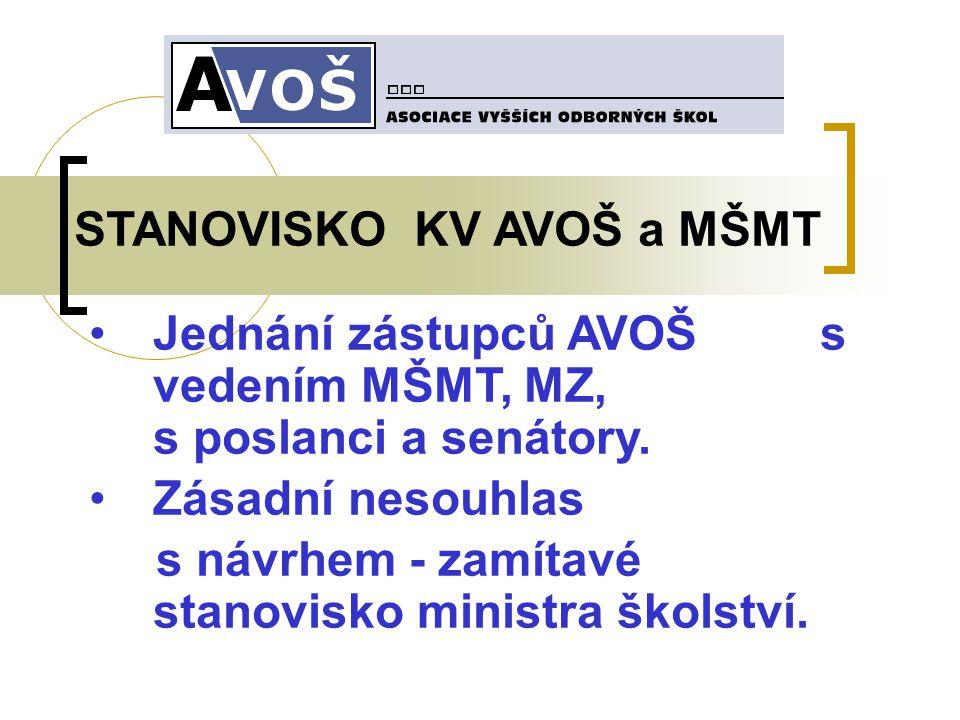 STANOVISKO KV AVOŠ a MŠMT Jednání zástupců AVOŠ s vedením MŠMT, MZ, s poslanci a senátory.