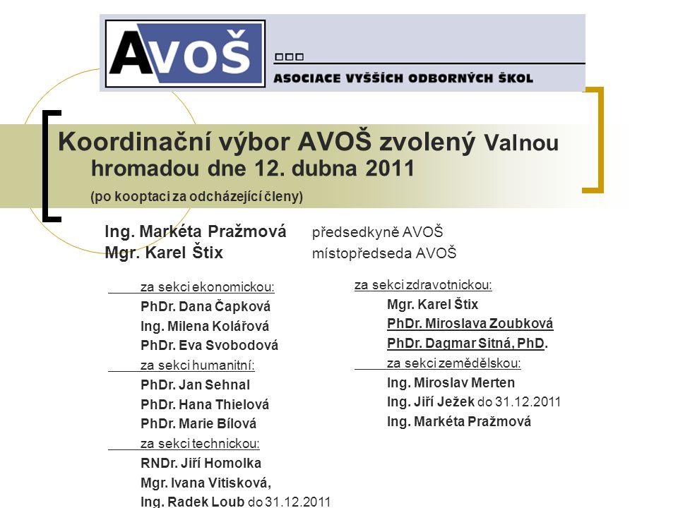 Koordinační výbor AVOŠ zvolený Valnou hromadou dne 12.