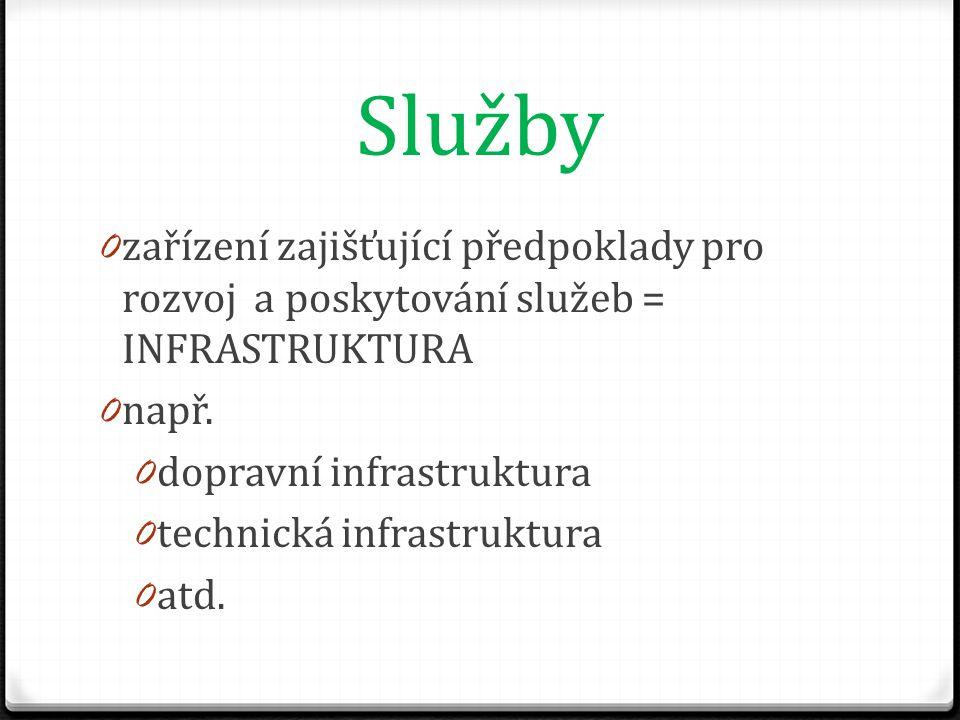 Služby 0 zařízení zajišťující předpoklady pro rozvoj a poskytování služeb = INFRASTRUKTURA 0 např.