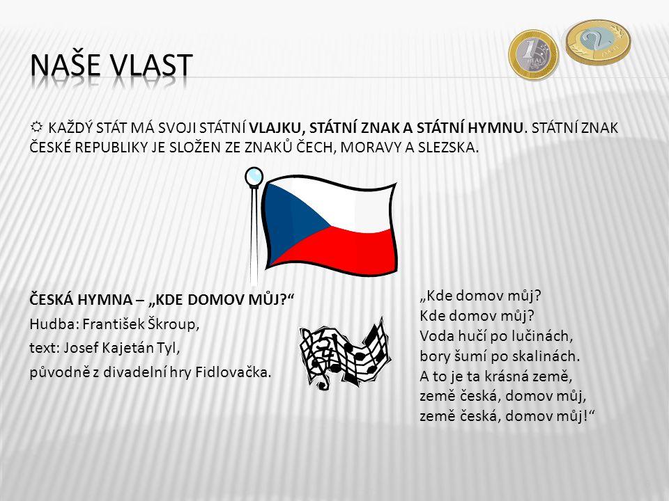 """ČESKÁ HYMNA – """"KDE DOMOV MŮJ?"""" Hudba: František Škroup, text: Josef Kajetán Tyl, původně z divadelní hry Fidlovačka. 6 """"Kde domov můj? Kde domov můj?"""