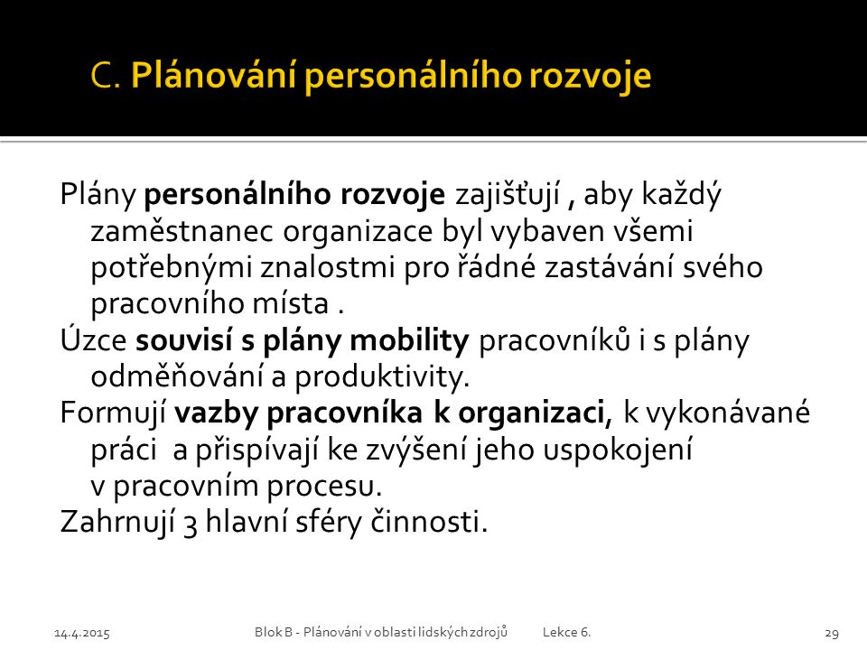 14.4.2015Blok B - Plánování v oblasti lidských zdrojů Lekce 6.29 Plány personálního rozvoje zajišťují, aby každý zaměstnanec organizace byl vybaven vš