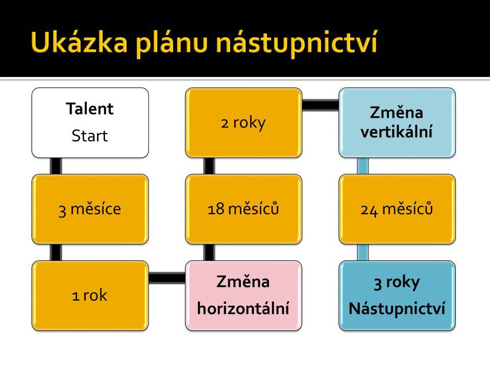Talent Start 3 měsíce1 rok Změna horizontální 18 měsíců2 roky Změna vertikální 24 měsíců 3 roky Nástupnictví