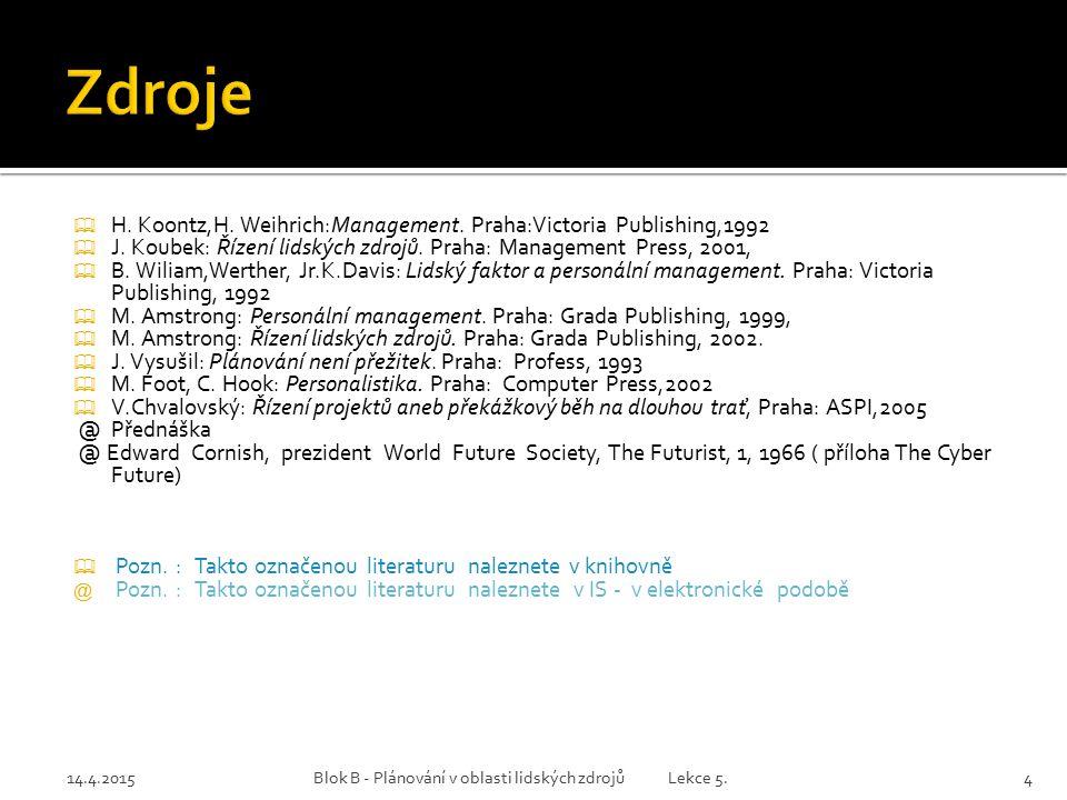 14.4.2015Blok B - Plánování v oblasti lidských zdrojů Lekce 5.4  H. Koontz,H. Weihrich:Management. Praha:Victoria Publishing,1992  J. Koubek: Řízení