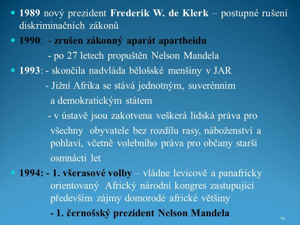 1989 nový prezident Frederik W. de Klerk – postupné rušení diskriminačních zákonů 1990: - zrušen zákonný aparát apartheidu - po 27 letech propuštěn Ne