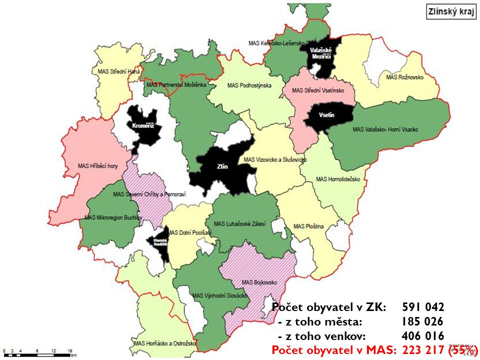 Počet obyvatel v ZK: 591 042 - z toho města: 185 026 - z toho venkov: 406 016 Počet obyvatel v MAS: 223 217 (55%)