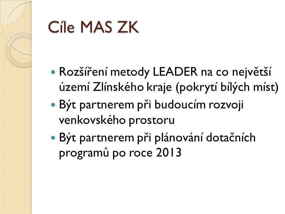 Cíle MAS ZK Rozšíření metody LEADER na co největší území Zlínského kraje (pokrytí bílých míst) Být partnerem při budoucím rozvoji venkovského prostoru Být partnerem při plánování dotačních programů po roce 2013
