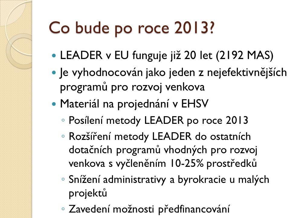 Co bude po roce 2013? LEADER v EU funguje již 20 let (2192 MAS) Je vyhodnocován jako jeden z nejefektivnějších programů pro rozvoj venkova Materiál na