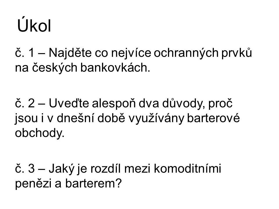 Úkol č. 1 – Najděte co nejvíce ochranných prvků na českých bankovkách.